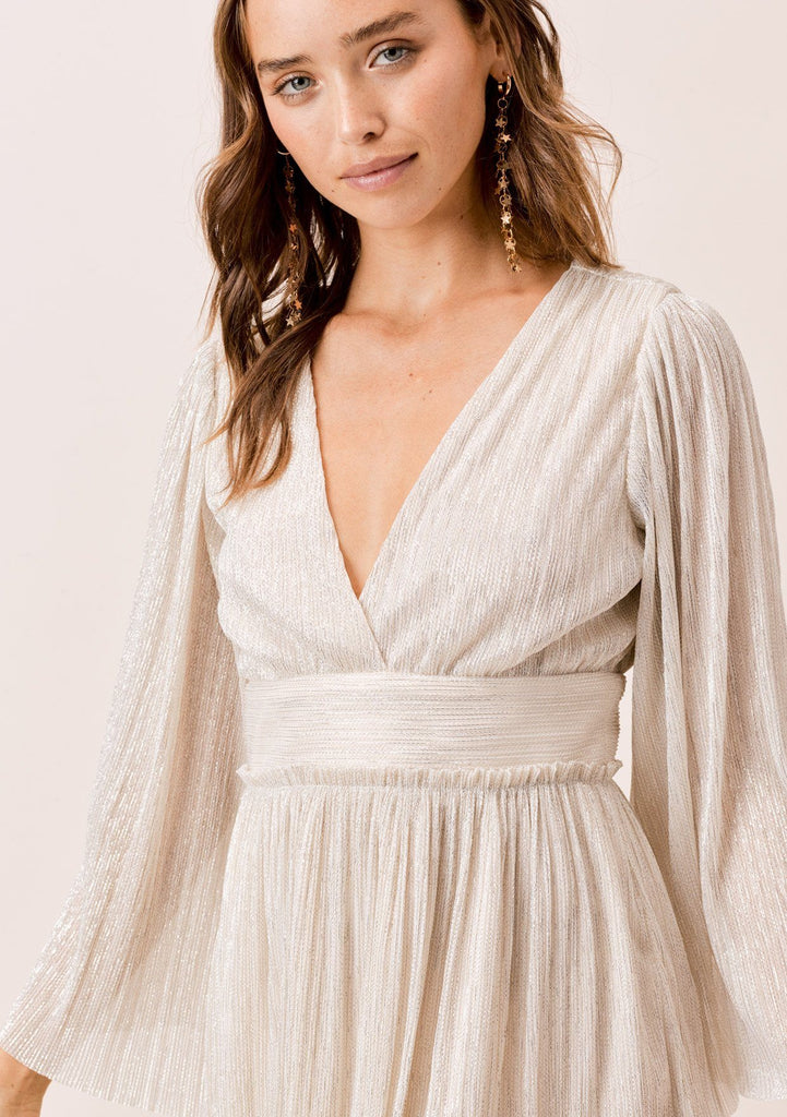 [Color: Ivory/Gold] Lovestitch Ivory/Gold Pleated metallic mini dress with angel sleeve and open back detail .