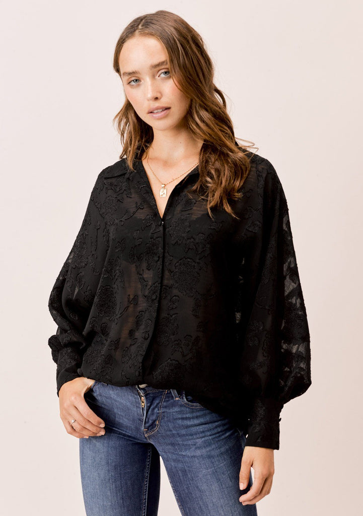 [Color: Black] Lovestitch black dolman sleeve, jacquard chiffon buttondown blouse.