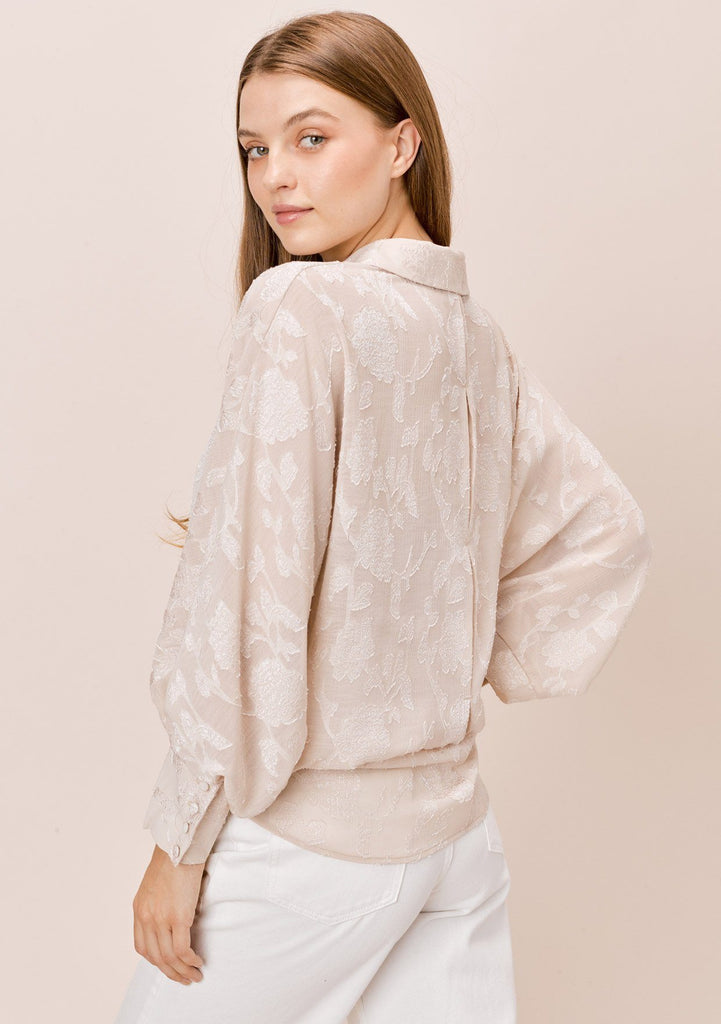 [Color: Champagne] Lovestitch champagne dolman sleeve, jacquard chiffon buttondown blouse.