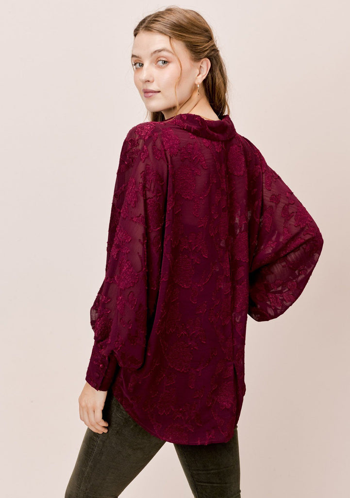[Color: Burgundy] Lovestitch burgundy dolman sleeve, jacquard chiffon buttondown blouse.