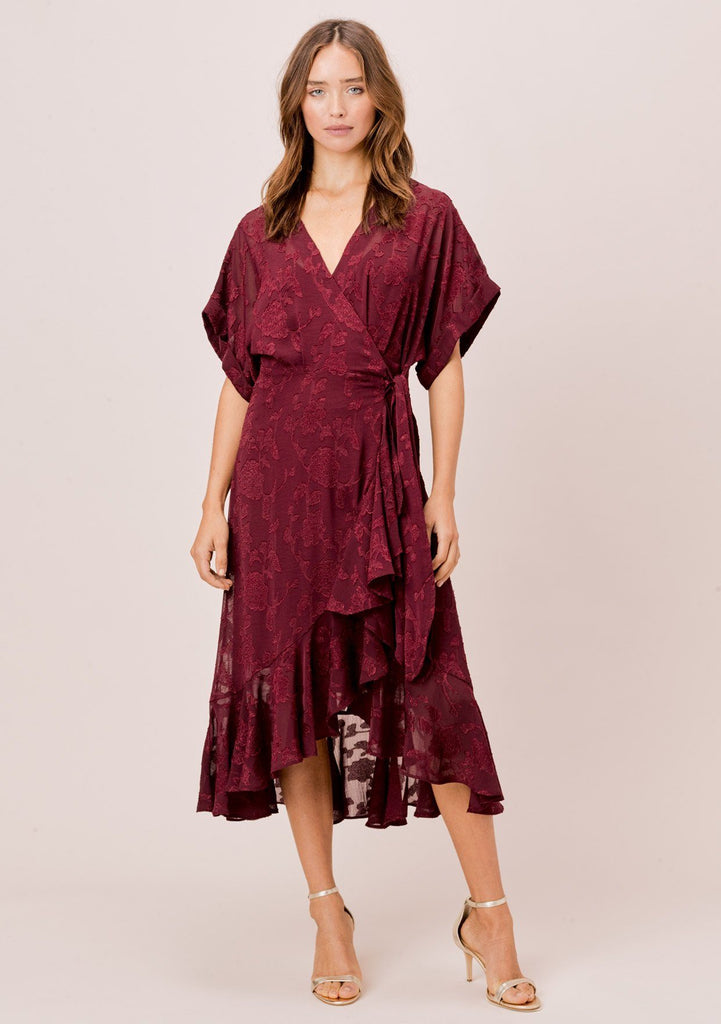 [Color: Burgundy] Lovestitch burgundy beautiful, floral jacquard chiffon wrap dress with ruffled high low hem.