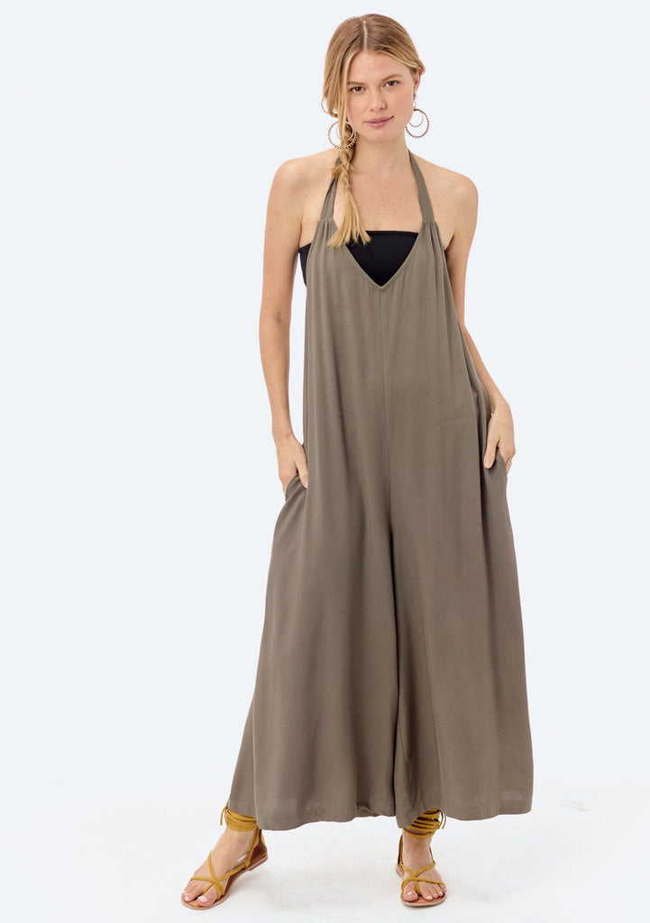 [Color: Vintage Army] Lovestitch wide-leg, twill halter jumpsuit.