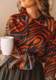 [Color: DarkTeal/Toffee] Lovestitch vibrant orange and navy zebra print button down over size shirt for lounging