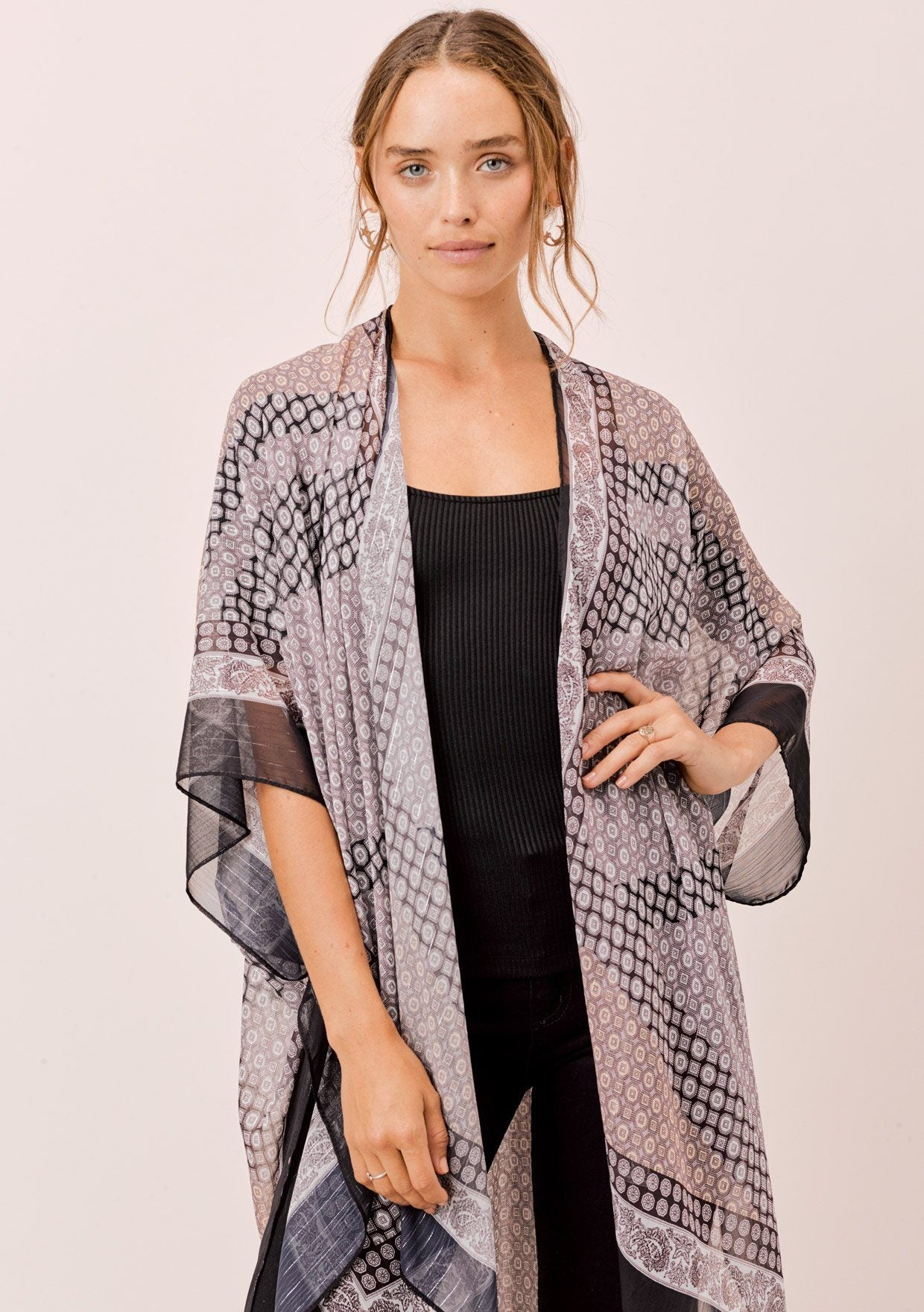 [Color: Black/White/Taupe] Beautiful lightweight and flattering bohemian kimono with boho tile print detail, long enough to cover the back of your legs and long kimono sleeves that cover your upper arm. The perfect lounge kimono.
