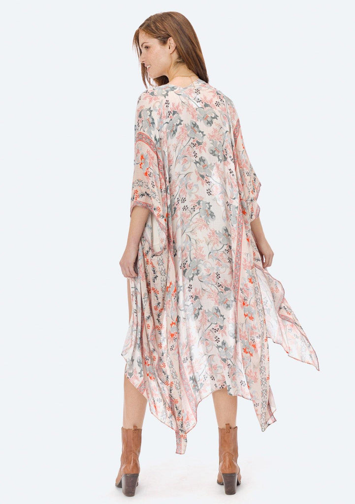 [Color: Natural/Coral] Lovestitch floral, natural/coral, sheer, flowy kimono.