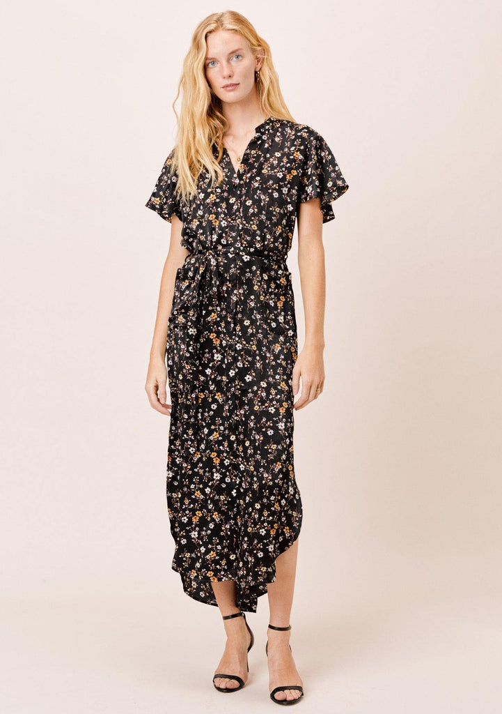 [Color: Black] Lovestitch Black Floral Kimono Dress with Belt
