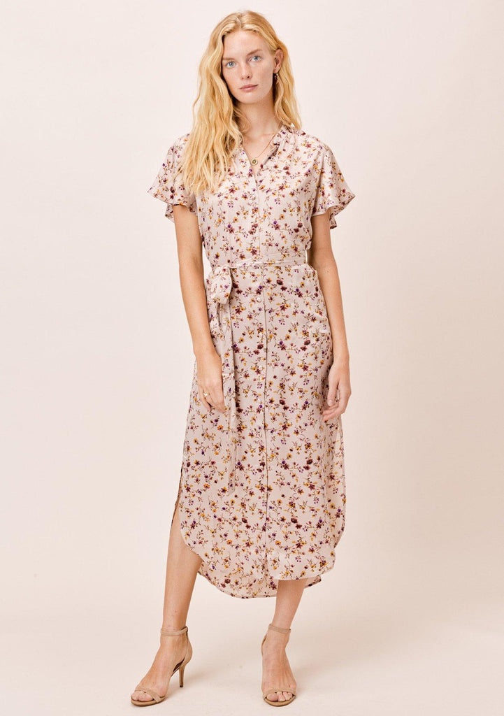 [Color: Dusty Blush] Lovestitch Dusty Blush Floral Kimono Dress with Belt