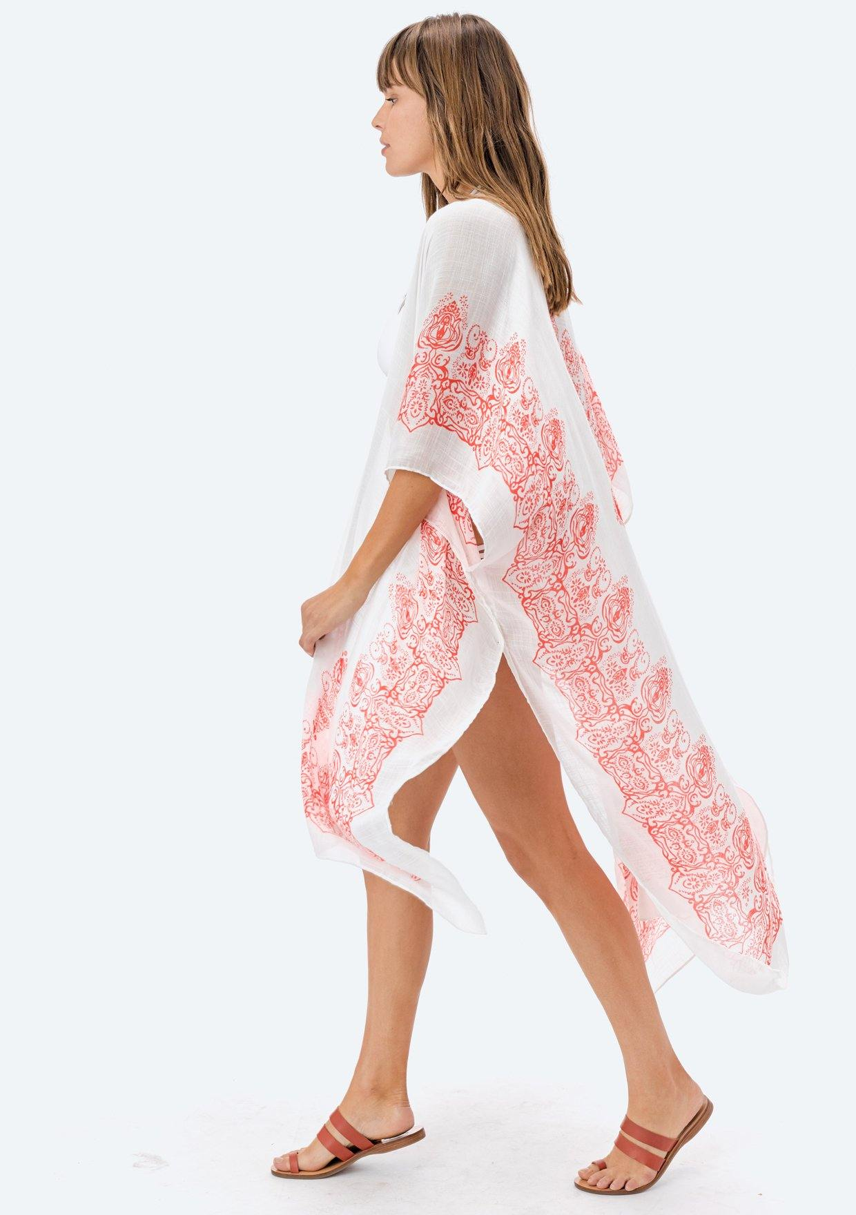 [Color: OffWhite/DarkCoral] Lovestitch bohemian, sheer, Moroccan tile printed kimono.