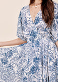 [Color: Navy] Lovestitch navy floral printed kimono sleeve dress Lovestitch navy floral printed kimono sleeve dress with handkerchief hem
