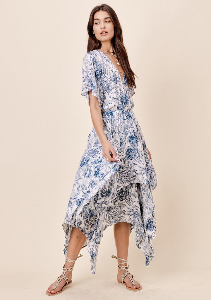 [Color: Navy] Lovestitch navy floral printed kimono sleeve dress with handkerchief hem