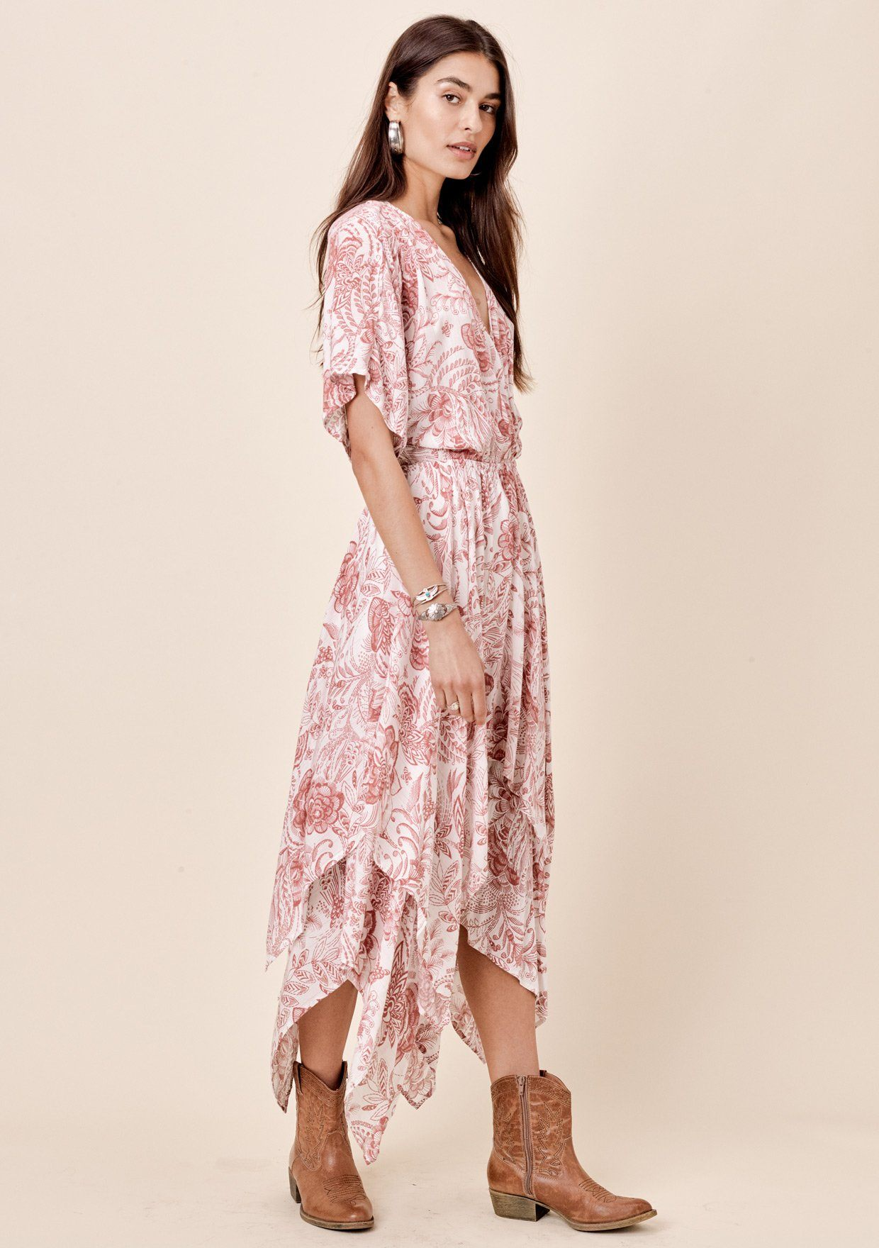 [Color: Rose/Taupe] Lovestitch rose floral printed kimono sleeve dress Lovestitch navy floral printed kimono sleeve dress with handkerchief hem Lovestitch navy floral printed kimono sleeve dress with handkerchief hem