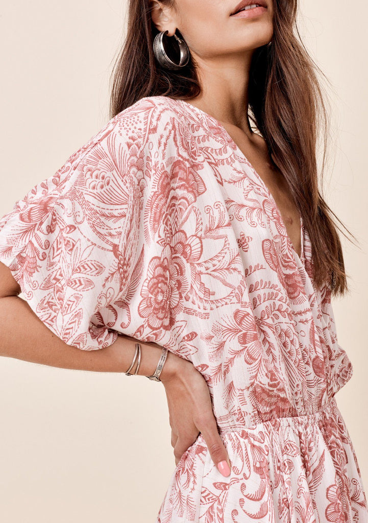 [Color: Rose/Taupe] Lovestitch rose floral printed kimono sleeve dress Lovestitch navy floral printed kimono sleeve dress with handkerchief hem