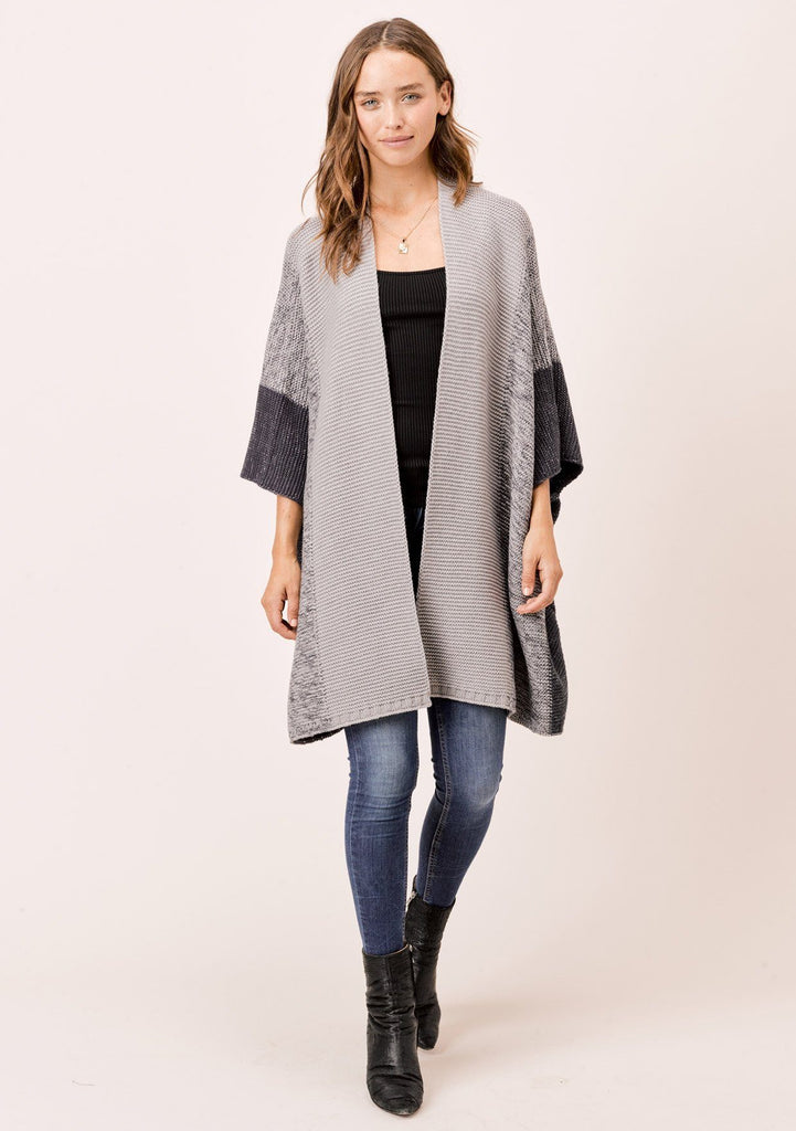 [Color: Charcoal Combo] Lovestitch Tonal, striped, metallic cocoon open cardigan.