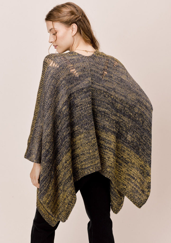 [Color: Olive Multi] Lovestitch olive green space dye shawl cape