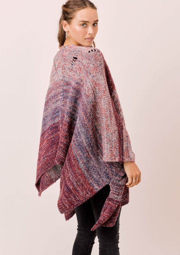 [Color: Cranberry Multi] Lovestitch cranberry space dye shawl cape