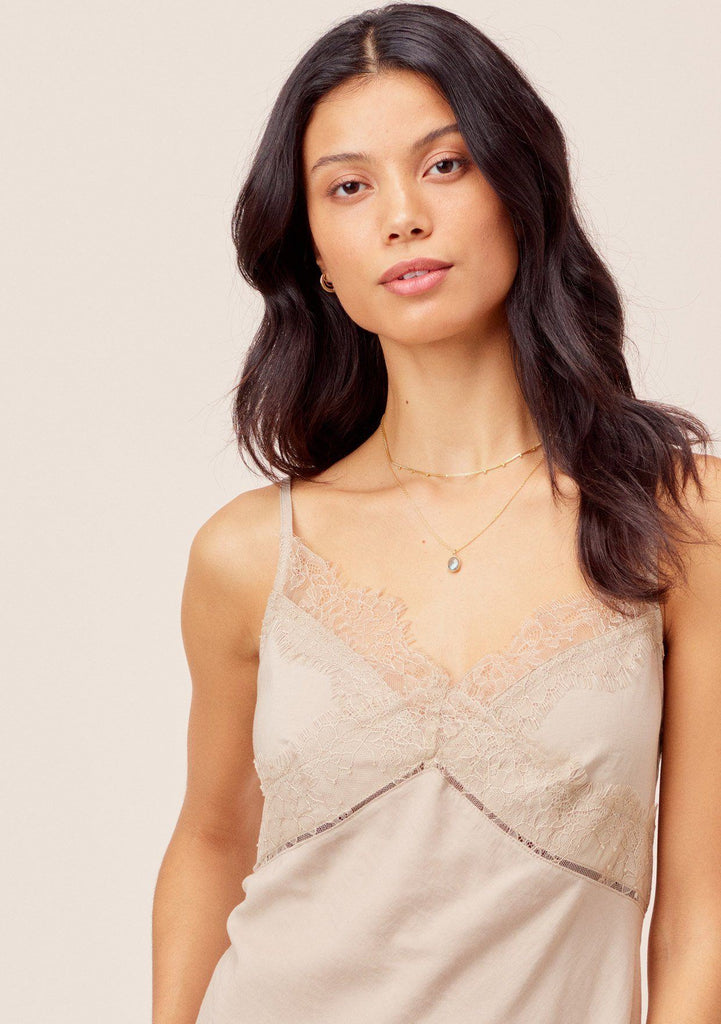 [Color: Stone] Lovestitch stone Sexy, lace trim cami with criss cross back strap detail and flattering silhouette.