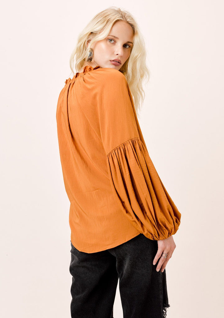 [Color: Honey] Lovestitch Honey, long lantern sleeve top with ruffle neck detail and covered buttons