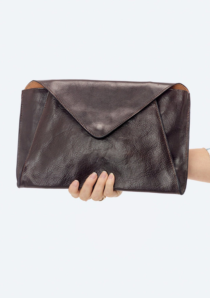 [Color: Ebano] Lovestitch Oversized Leather Envelope Clutch
