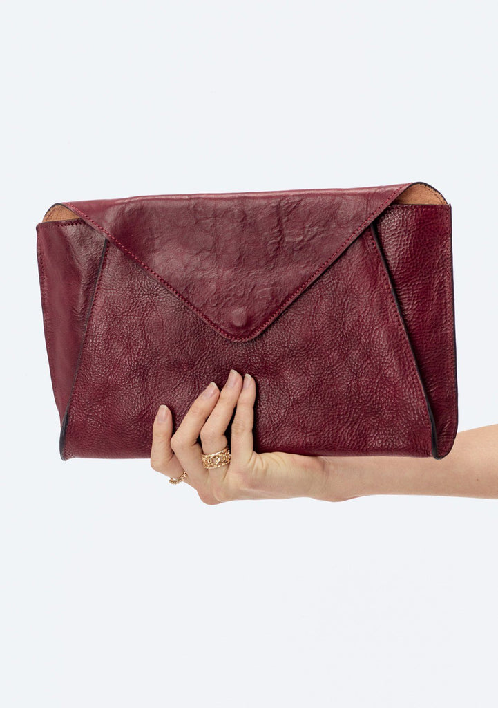 [Color: Mosto] Lovestitch Oversized Leather Envelope Clutch