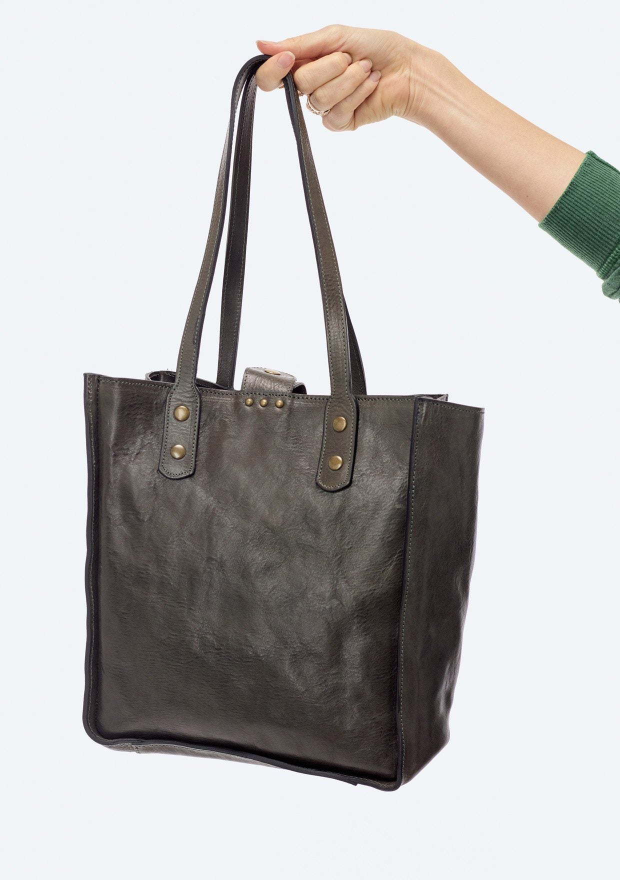 [Color: Olive] Lovestitch buttery soft leather small tote bag with handles and shoulder strap
