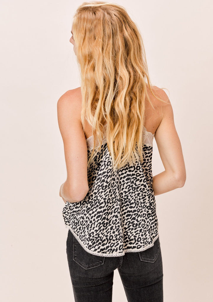 [Color: Nude/Black] Lovestitch Leopard Cami with Lace Trim