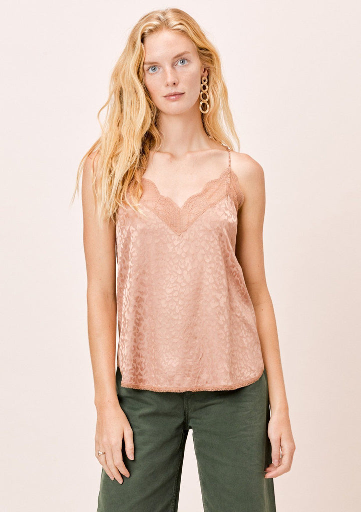 [Color: Vintage Rose] Lovestitch Vintage Rose Pink Leopard Printed Cami with lace trim