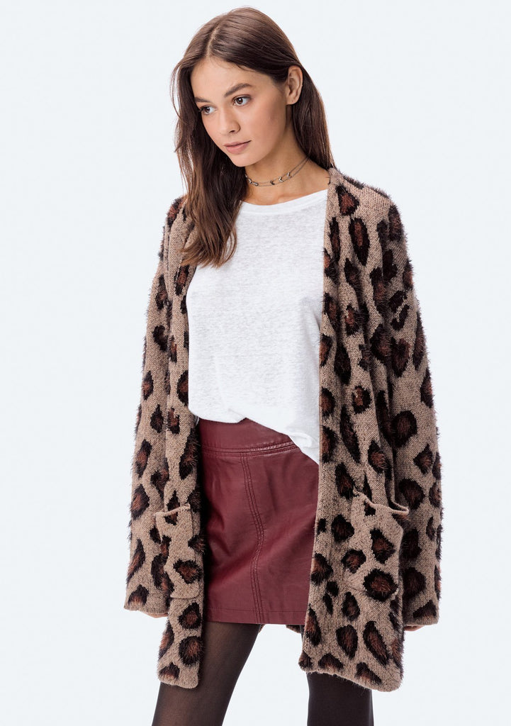 [Color: Camel] Lovestitch Brown Leopard Cardigan