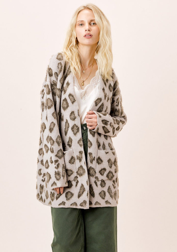 [Color: Taupe] Lovestitch Taupe/Grey Leopard Cardigan