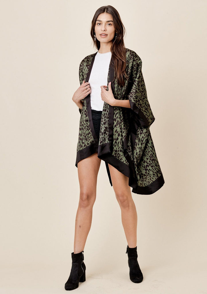 [Color: Army/Black] Lovestitch Silky, green and black leopard print, flowy kimono with black border.