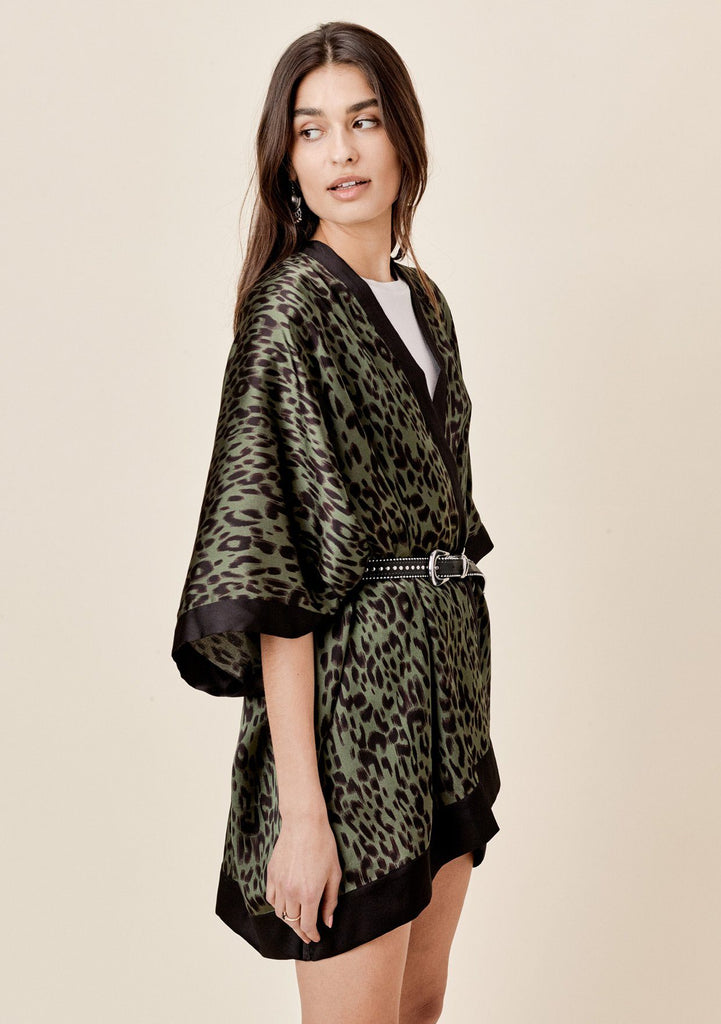[Color: Army/Black] Lovestitch Silky, leopard print, flowy kimono with black border.