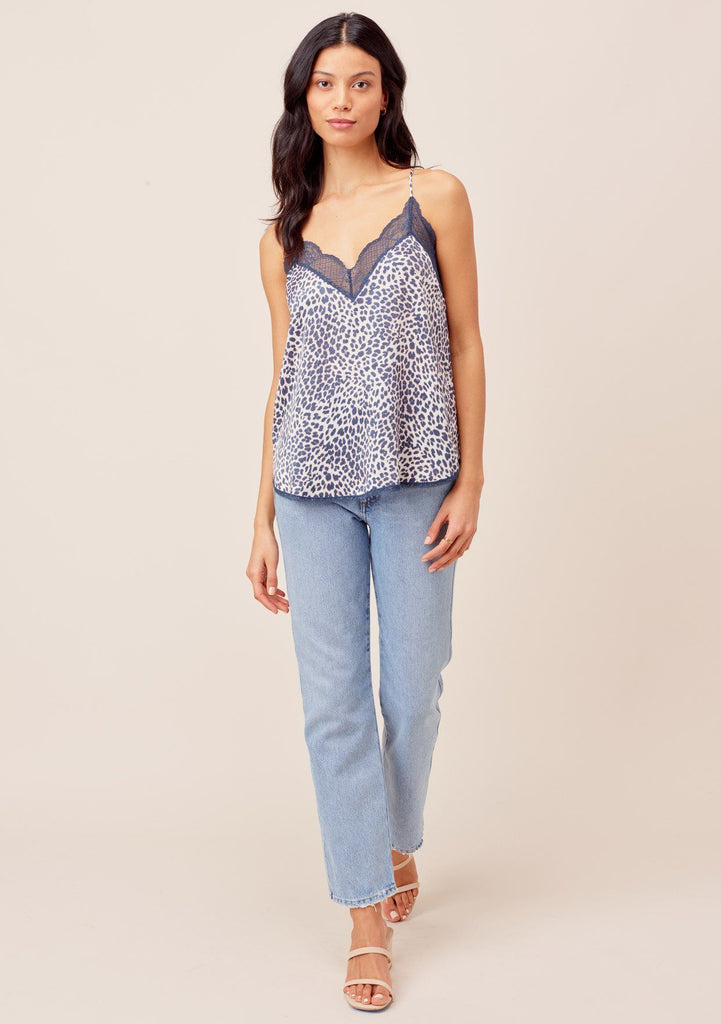 [Color: Natural/Midnight] Beautiful silky lace trim slip camisole tank top in chic midnight blue and white leopard print