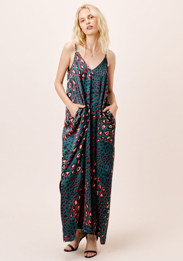[Color: Teal] Lovestitch satin teal leopard mila maxi with pockets