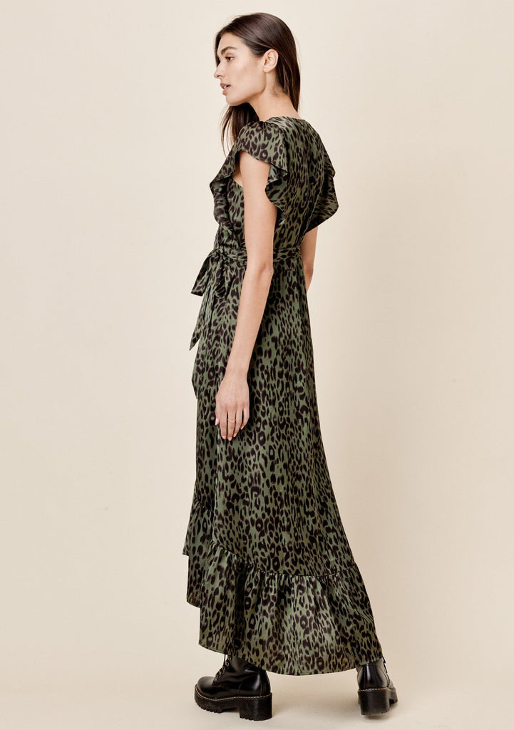 [Color: Army/Black] Lovestitch silky, leopard printed, flutter sleeve wrap maxi dress with ruffled hem.
