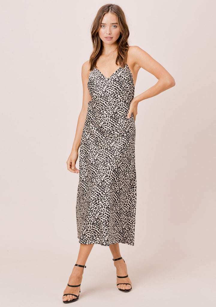 [Color: Nude/Black] Lovestitch nude/black leopard printed, bias cut midi dress with gorgeous criss-cross back detail.
