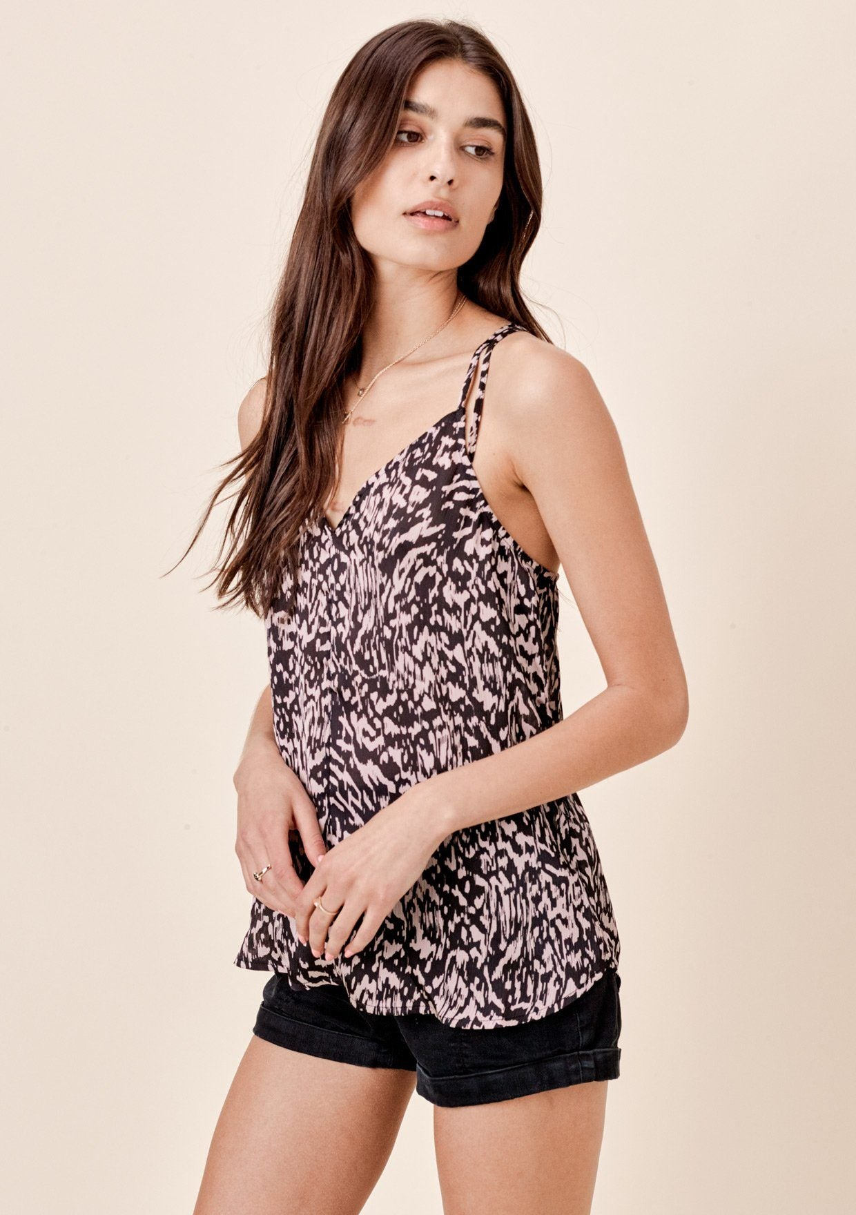 [Color: Black/Taupe] Lovestitch Silky, abstract animal print, racerback tank top.