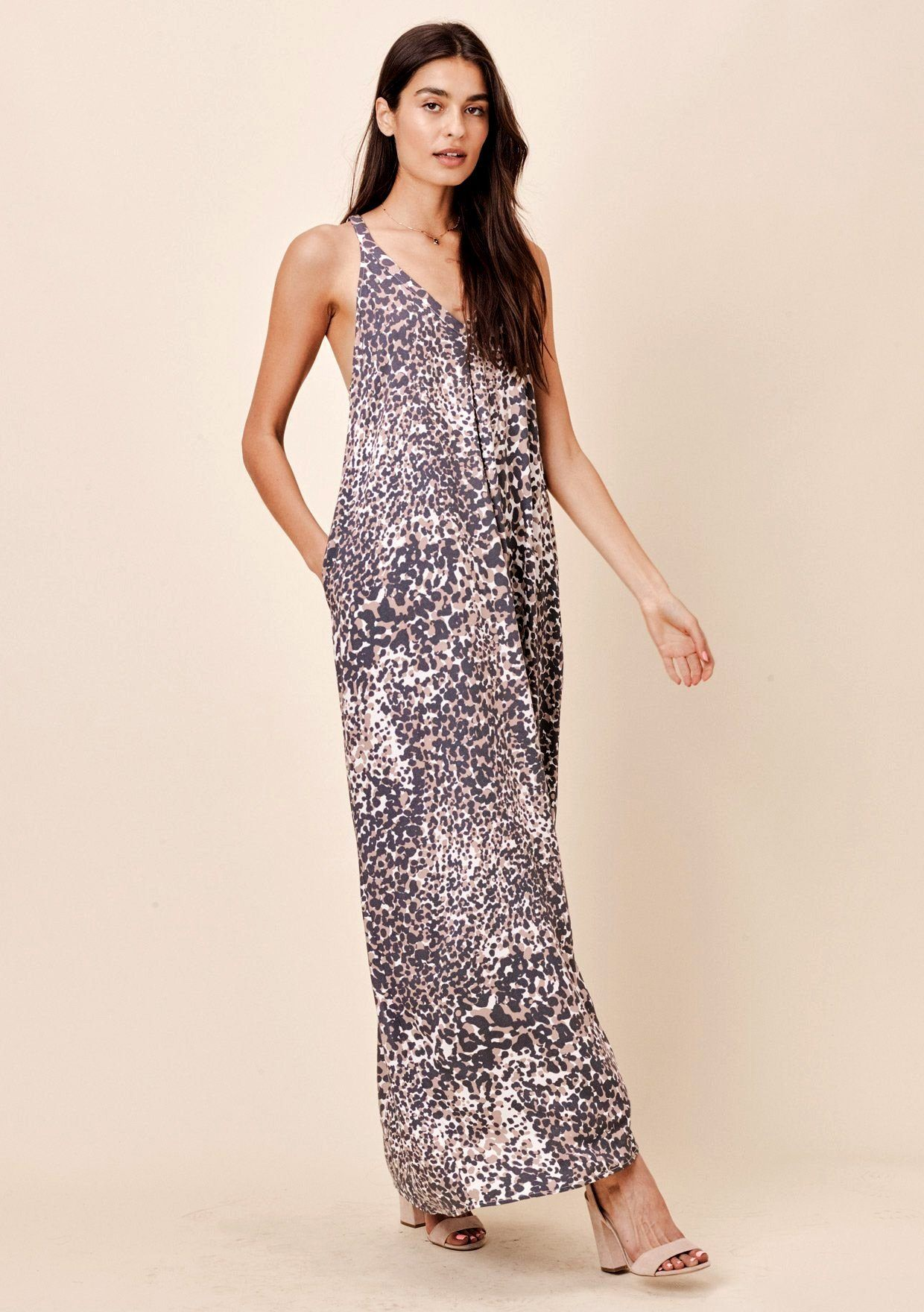 [Color: Black/Mocha]  Lovestitch Leopard racerback maxi dress with pockets