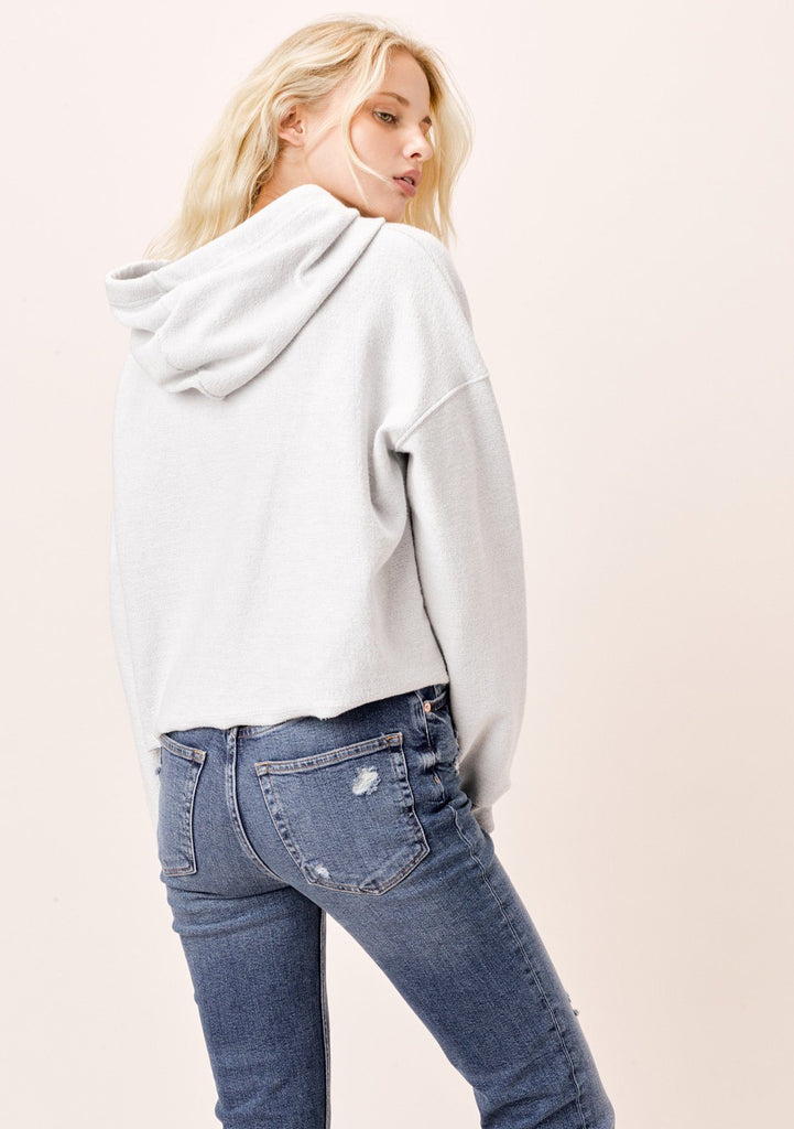 [Color: Heather Grey] Lovestitch Cropped Drawstring Hoodie