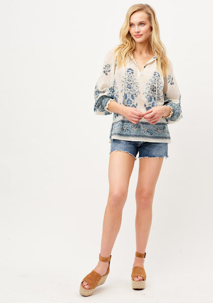 Airy Blue Floral Bohemian Blouse