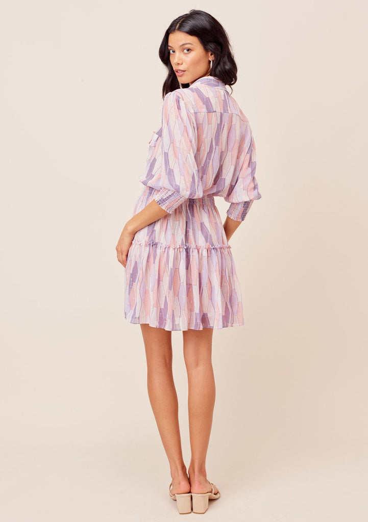 [Color: Lilac/Blush] Lovestitch Lilac/Blush printed, button top mini dress with three quarter length sleeves and smocked elastic waist