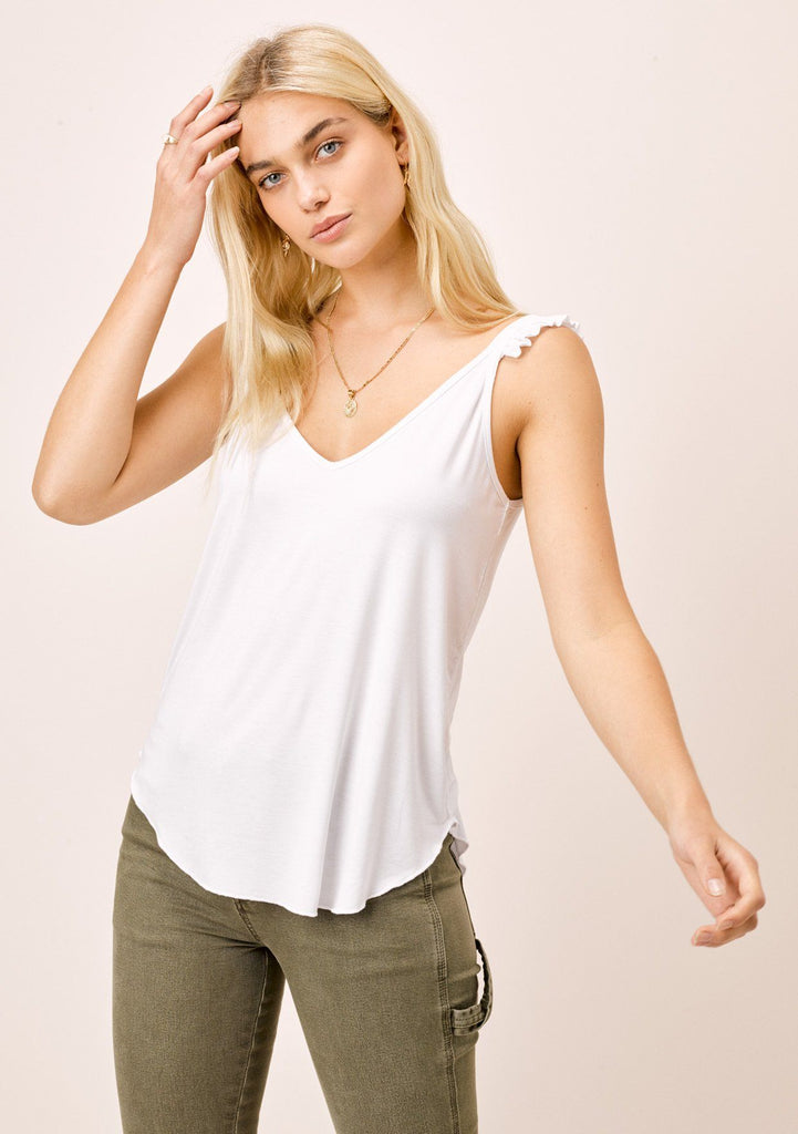 [Color: White] Lovestitch white super soft tank with ruffled strap detail
