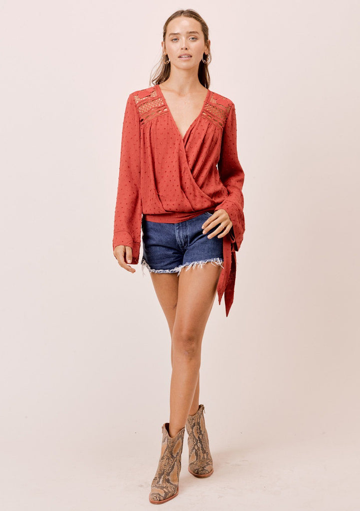 [Color: Spice] Lovestitch Spice Bell Sleeve faux wrap top with crochet yoke