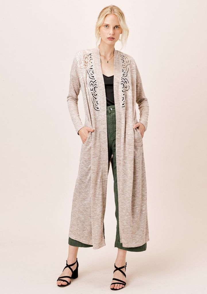 [Color: Oatmeal/Natural] Lovestitch Melange Knit Duster with Embroidered Eyelet Detail