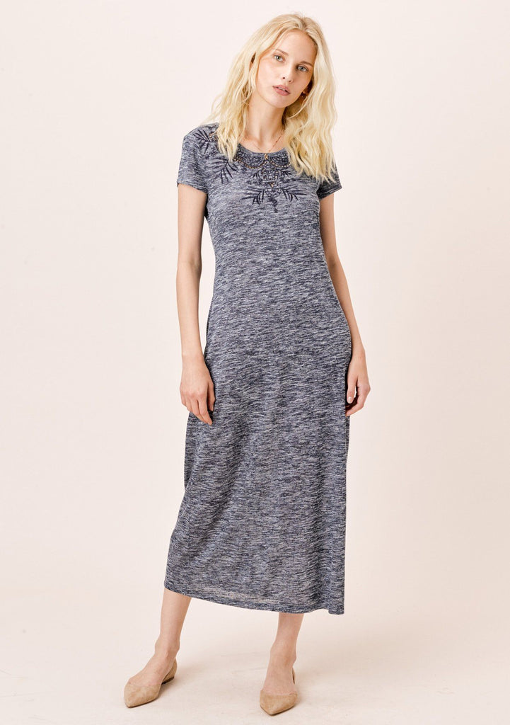 [Color: Indigo] Lovestitch Short Sleeve Melange Knit Dress with Tonal Cutout Embroidered Detail Indigo