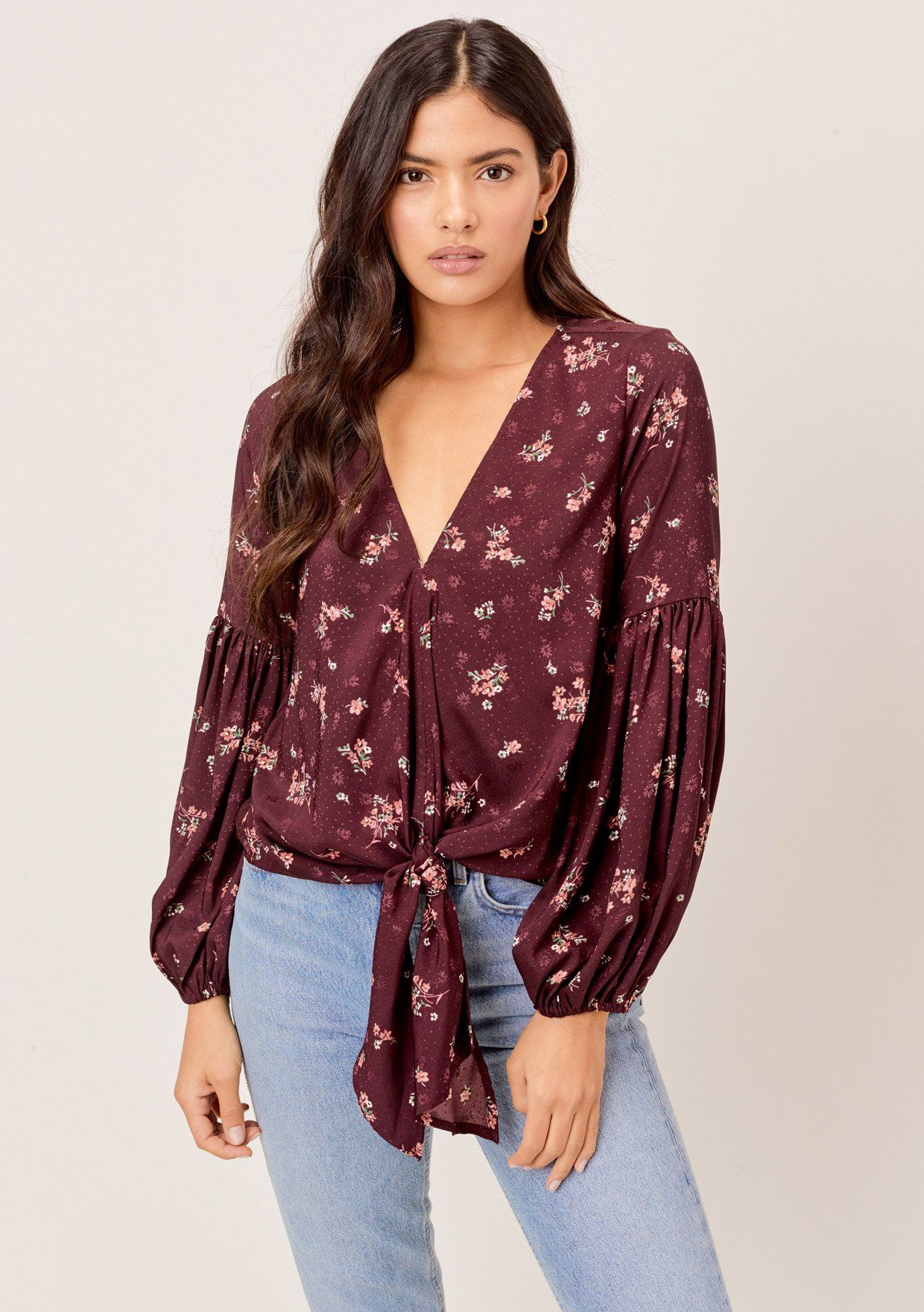 [Color: Merlot/Rose] Lovestitch Beautiful floral tie front top with boho chic volume sleeves.