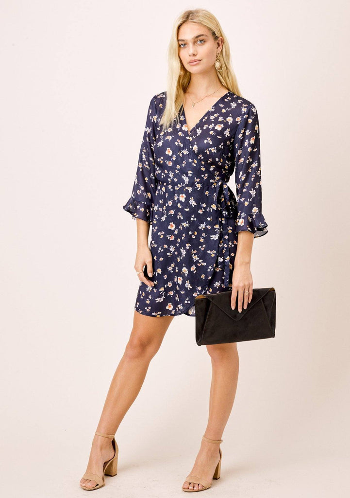 [Color: Midnight/Marigold] Lovestitch midnight navy, floral printed, mini wrap dress.