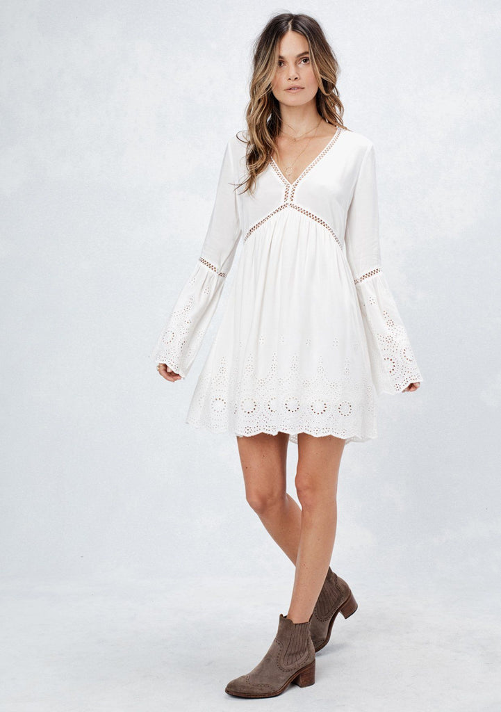 [Color: Off White] Lovestitch white embroidered eyelet mini dress with romantic bell sleeves, scalloped hem, lace and lattice trim details
