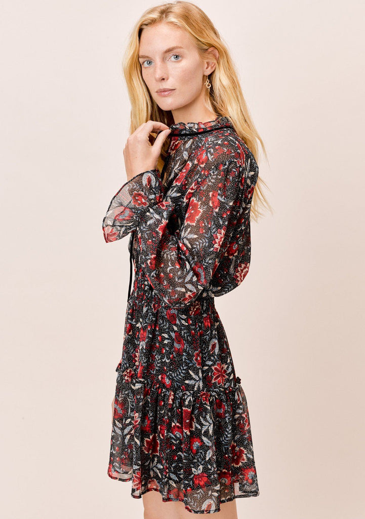 [Color: Black/Scarlet] Lovestitch black Floral printed smocked waist dress with ruffle detail and velvet trim