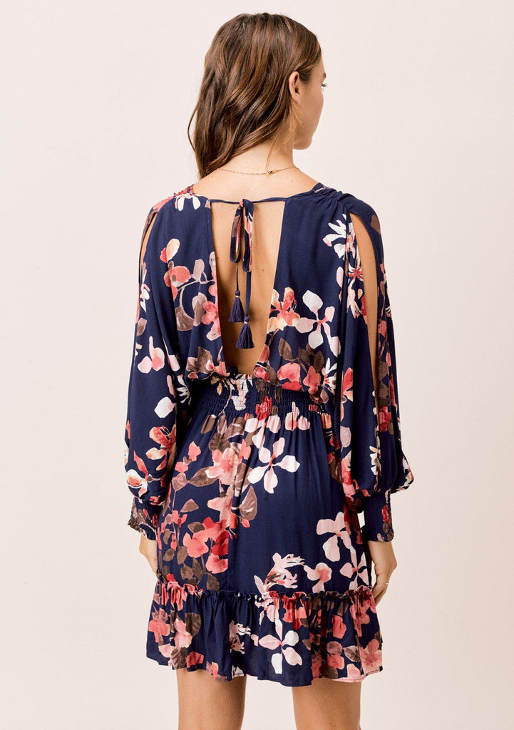 [Color: Navy/Blush/Olive] Lovestitch floral printed split sleeve mini dress smocked waist dress