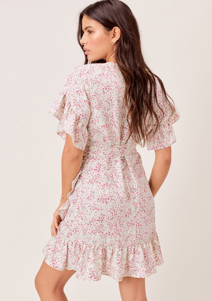 [Color: Ivory/Orchid] Lovestitch ivory/orchid Small tulip printed, short sleeve wrap dress with ruffled detail.