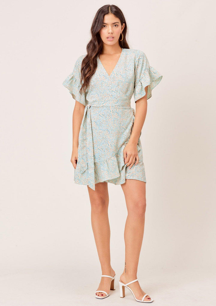[Color: Mint/Peach] Lovestitch mint/peach Small tulip printed, short sleeve wrap dress with ruffled detail.